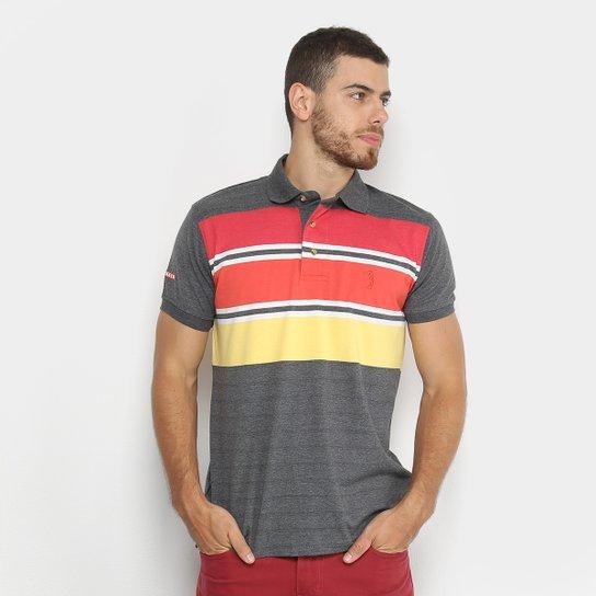 Camisa Polo Aleatory Listrada Masculina - Cinza e Vermelho - Compre ... 62d22a0b5be8e
