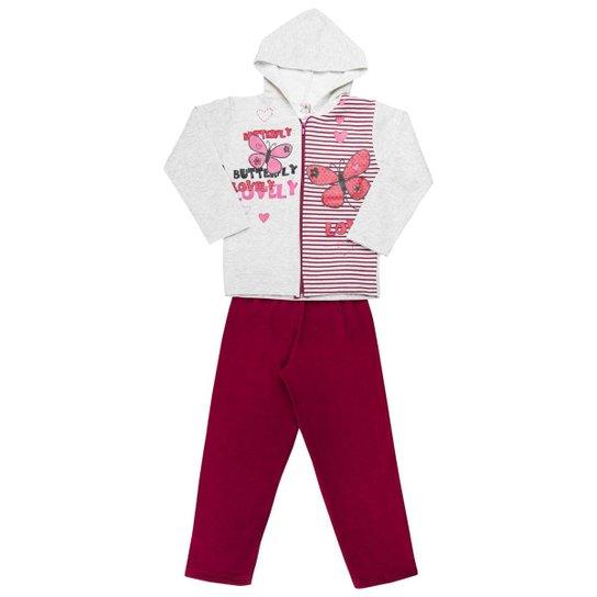 Conjunto Infantil Longo Clubinho Kids Jaqueta Butterfly Mescla e Calça em Moletom  Feminino - Cinza+ 760a35d6ae