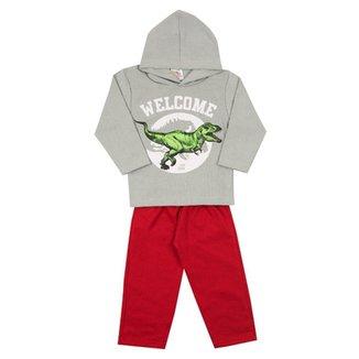 Conjunto Infantil Longo Jidi Kids Blusa com Capuz Rex e Calça em Moletom  Masculino 28ff97e38b6