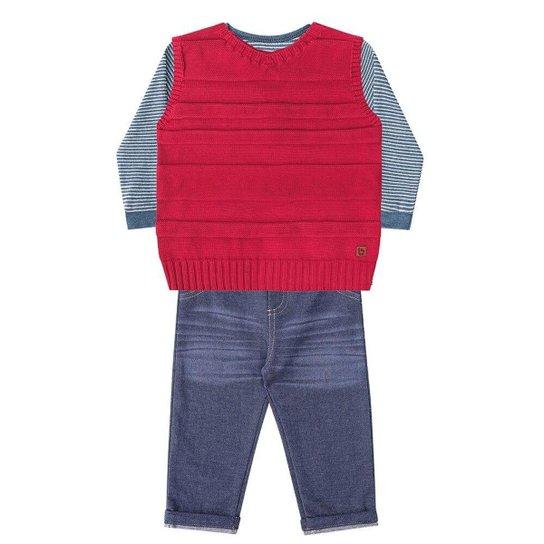9926ff9e19 Conjunto Bebê 3 Peças Luc.Boo Camiseta Colete Tricô Calça Masculino -  Cinza+Vermelho