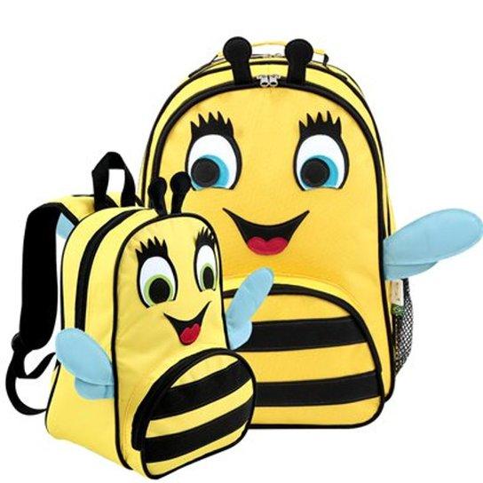 fd7248162 Kit Infantil Mochila Escolar Mumagi + Mochila Passeio Abelha Feminina -  Amarelo+Preto