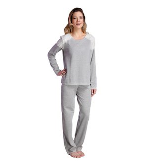 fa223b6db Pijama Longo Inspirate Ombro Rendado Feminino