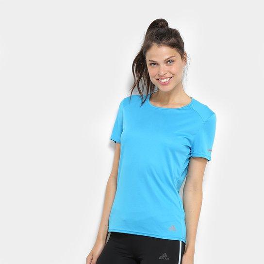 77656f93fd9 Camiseta Adidas Run Feminina - Azul Piscina - Compre Agora