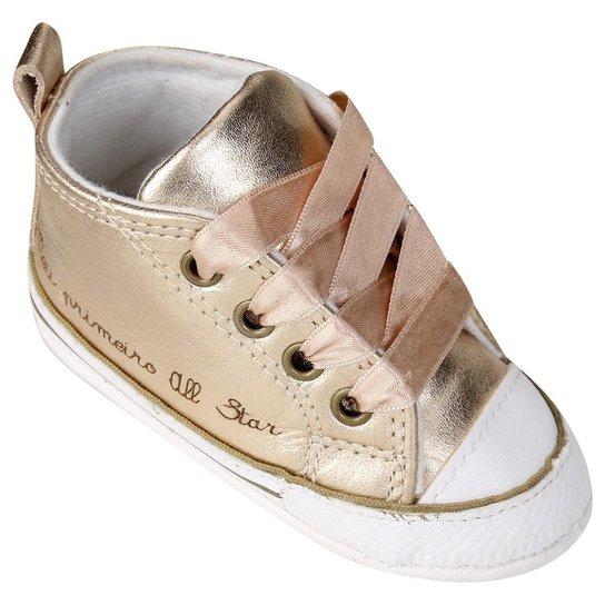 ddb68035f06 Tênis Infantil Converse Chuck Taylor All Star First Star Laces Feminino -  Dourado+Branco