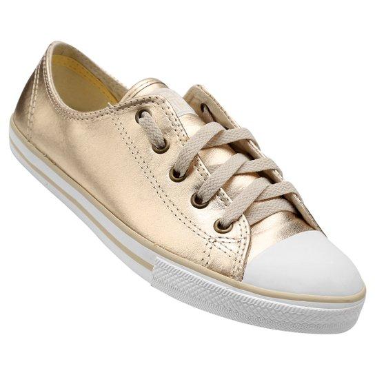 ... Tênis Converse All Star Ct As Dainty Leather Ox - Dourado+Branco  fashion style 702fc ... 85e1ffeddb0d0