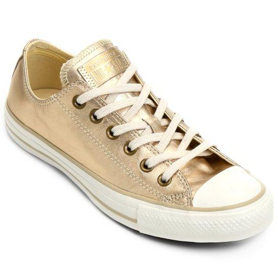 46dac8b3c1a Tênis Couro Converse Ct As Mettalic Leather Ox Feminino - Dourado+Branco