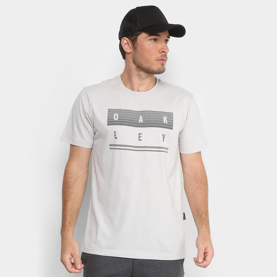 a5b63b43a9 Camiseta Oakley Mod Geo Stack Masculina - Cinza Claro - Compre Agora ...
