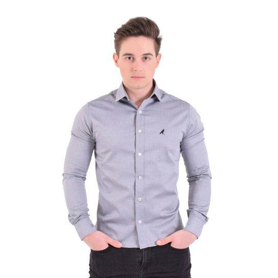 f37fa1cd58f24 Camisa Social Listrada Masculina - Slim - Cinza Claro - Compre Agora ...
