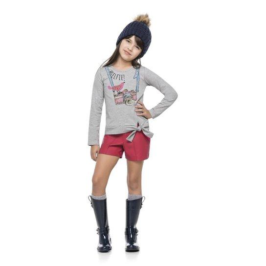 059eb74f8 Blusa Manga Longa Infantil Cotton Quimby Feminina - Cinza Claro. Loading.