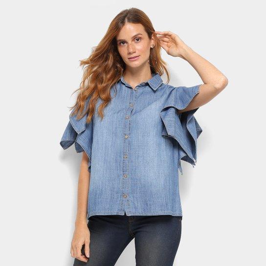 16f0d2c879 Camisa Jeans Colcci Manga Curta Feminina - Azul Piscina   Zattini