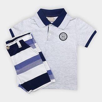Conjunto de Camisa Polo + Bermuda Infantil Milon Masculino 4f9f838a5ab33