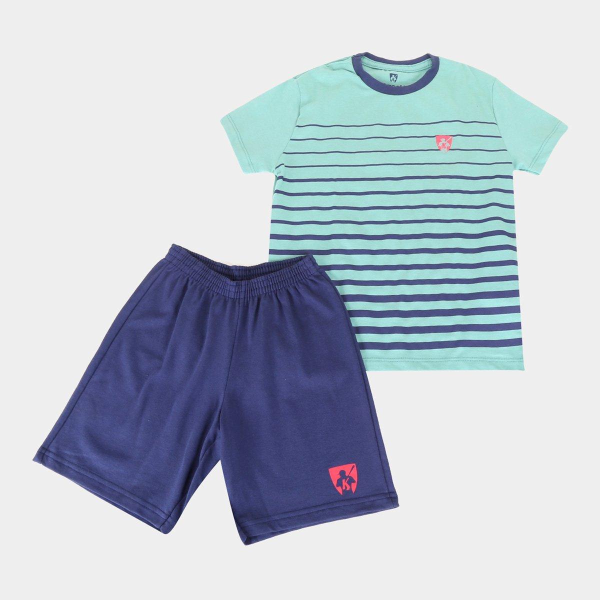 Conjunto Infantil MR. Kitsch Camiseta Listras + Short Liso Masculino