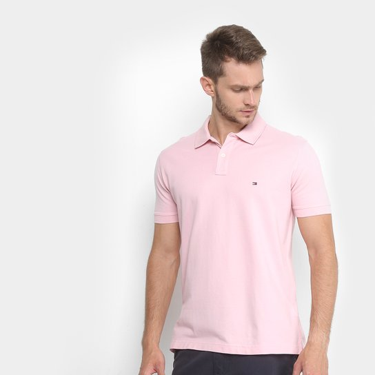 5547050a081e8 Camisa Polo Tommy Hilfiger Piquet Básica Regular Fit Masculina - Rosa Claro