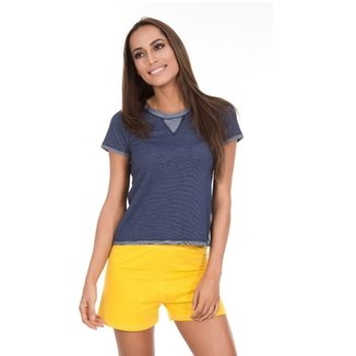 4f2674101 Pijama Inspirate Curto Jeans Brasil Feminino