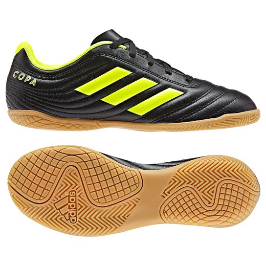 3d8568982c Chuteira Futsal Infantil Adidas Copa 19 4 IN - Preto e Amarelo