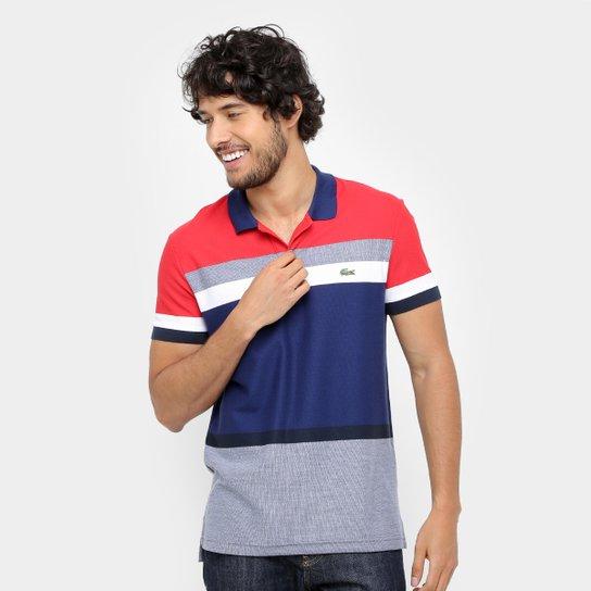 a66a5491df8c5 Camisa Polo Lacoste Piquet listras color - Vermelho+Marinho