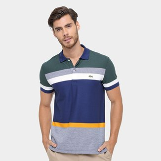 Camisa Polo Lacoste Piquet listras color 2448b12f7fb53