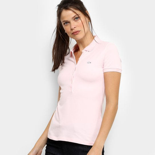 Camisa Polo Lacoste Manga Curta Botões Feminina - Compre Agora   Zattini 4b779bb25c