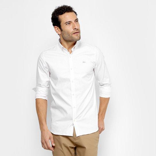 2a1f384595205 Camisa Lacoste Slim Listras Manga Longa Masculina - Compre Agora ...