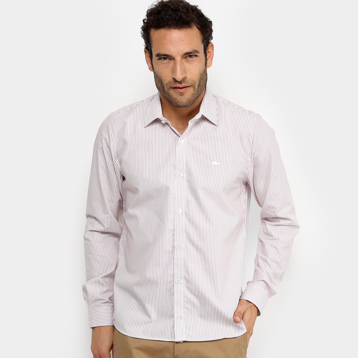 Camisa Listrada Lacoste ML Regular Fit Masculina d7cdae7dca