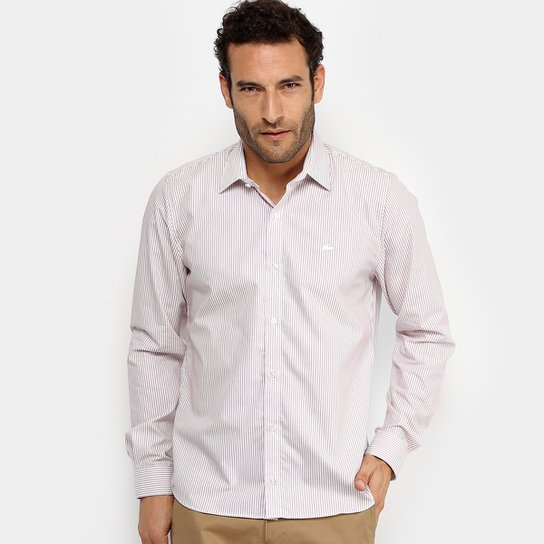 Camisa Listrada Lacoste ML Regular Fit Masculina - Rosa Claro ... 241bbad31a