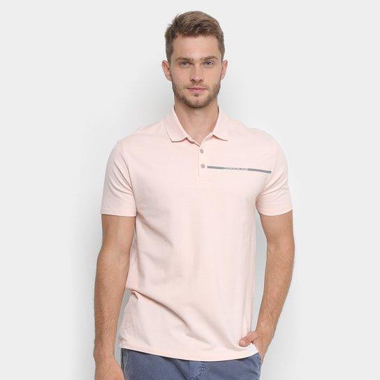 5c0a97d704 Camisa Polo Calvin Klein Estampada Logo Masculina - Rosa Claro