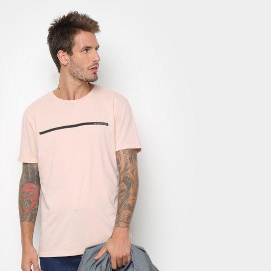 109f01e784c07 Camiseta Calvin Klein Estampa Básica Masculina - Rosa Claro - Compre ...