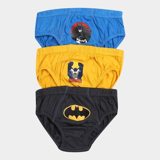 e50b102952a18d Kit Cueca Infantil Lupo Batman com 3 Peças - Azul e amarelo