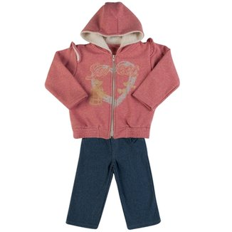 Conjunto Infantil Moletom Lurex e Malha Denim Swee f5ac502ae59
