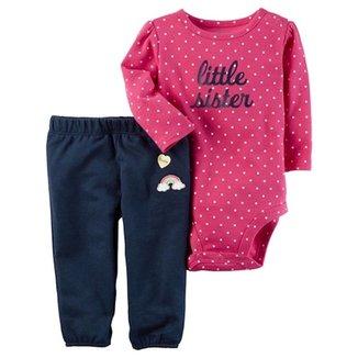 Conjunto Infantil Carter s Body e Calça Little Sister Feminina ca8a9e8a243