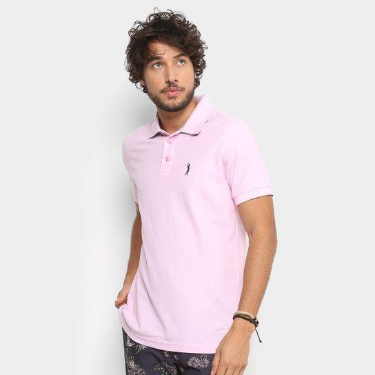 6b120fdb39 Camisa Polo em Piquet Aleatory Manga Curta Masculina - Rosa Claro ...