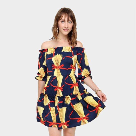 1348a6020 Vestido Top Moda Evasê Curto Estampado - Azul+amarelo