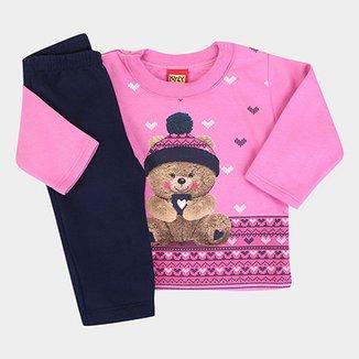 1a0504fc53 Conjunto Infantil Kyly Peluciado Ursinho Feminino