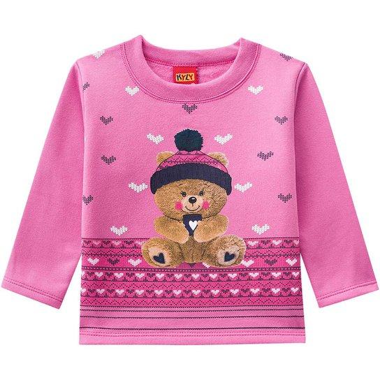 1981fc1a91d33 Conjunto Moletom Infantil Kyly Estampa Urso Feminino - Rosa+Marinho