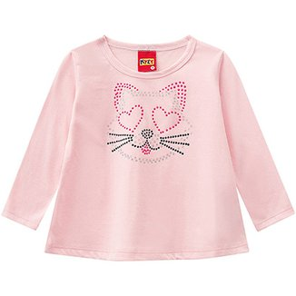 0a8093244 Blusa Malha Manga Longa Infantil Kyly Aplique Cat Feminina