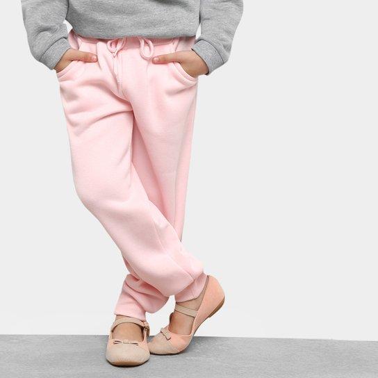 Calça Moletom Infantil Zeep! Essentials Feminina - Rosa Claro ... 5485323dff356