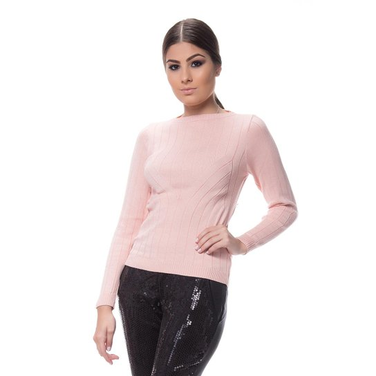 0eb4ca61e6 Blusa Logan Tricot Cacharrel Feminina - Rosa Claro