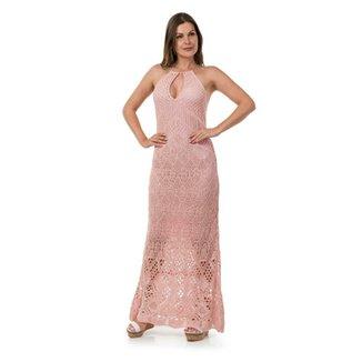 28ae780fa Vestido Pink Tricot Longo Frente Única
