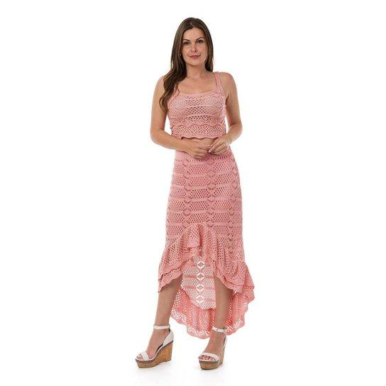 1c6f353642 Conjunto Pink Tricot Cropped e Saia Longa Fenda - Rosa Claro