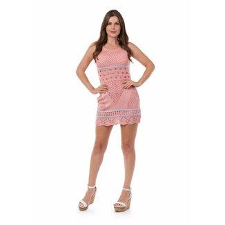9519228ae Vestido Pink Tricot Curto Listras Feminino