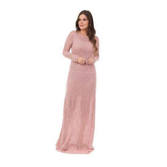 ab6024a42 Vestido Pink Tricot Longo Decote Canoa Manga Longa Feminino - Rosa Claro