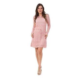 634ccab5f Vestido Pink Tricot Curto Manga Longa Cordão Feminino