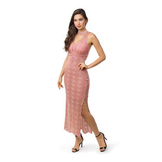 6cf2e8f1db Vestido Pink Tricot Longo com Decote Shocker e fendas Feminino - Rosa Claro