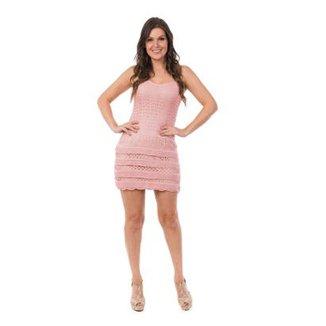 f0e18b4c5a Vestido Pink Tricot Curto Renda Babados