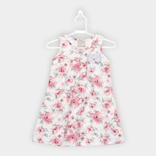 8f2e60ff75 Vestido Infantil Milon Curto Evasê Estampa Floral - Rosa Claro ...