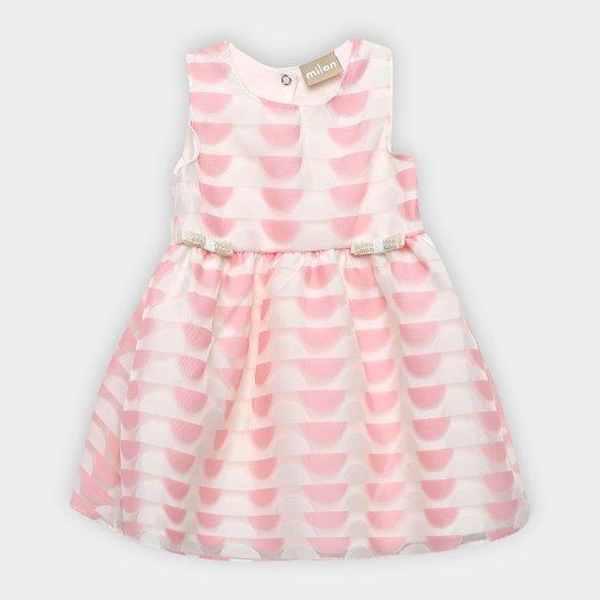 efc37c5aff64f Vestido Infantil Milon Cavado Evasê Estampado Laços Pérolas - Rosa Claro