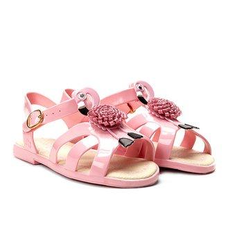 440d4460b49 Sandália Infantil World Colors Verniz Aplique Flamingo Feminina
