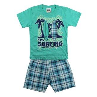Conjunto Duzizo Surfing E Bermuda Xadrez ada1c5643ff