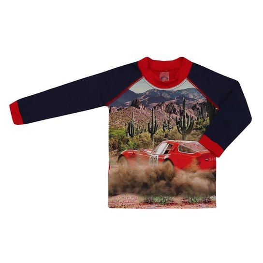 Camiseta Infantil Lucca Estampa Hot Car Siri Masculina - Vermelho+Marinho 85bec7094b2