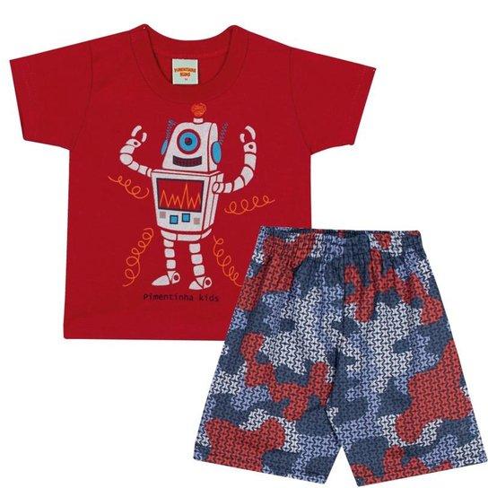 d146194561d36 Conjunto Infantil Camiseta Robô e Bermuda em Tactel Estampada Masculino -  Vermelho+Marinho
